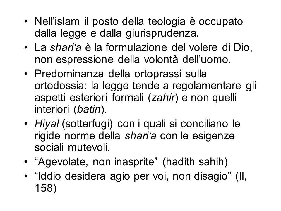 Nell'islam il posto della teologia è occupato dalla legge e dalla giurisprudenza.