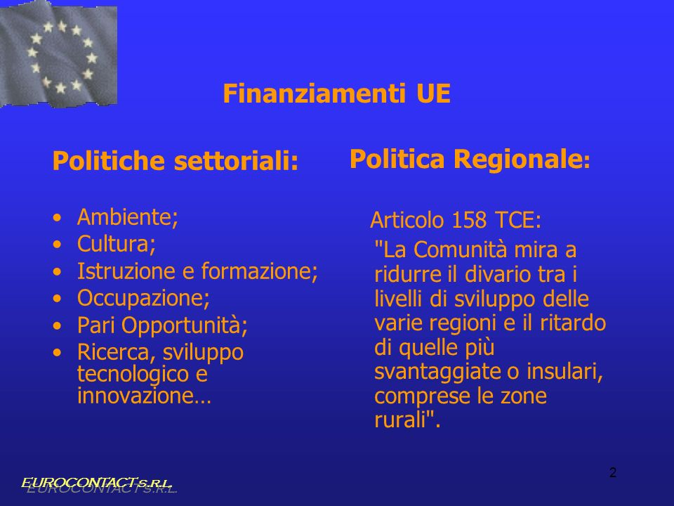 Politiche settoriali: