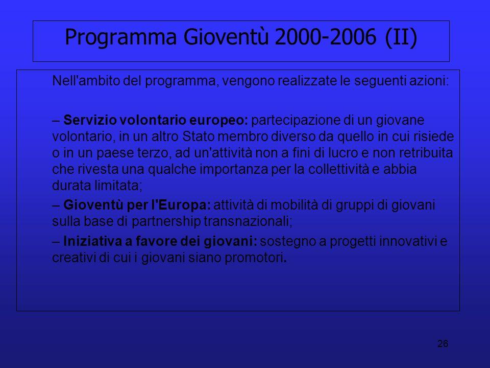Programma Gioventù 2000-2006 (II)