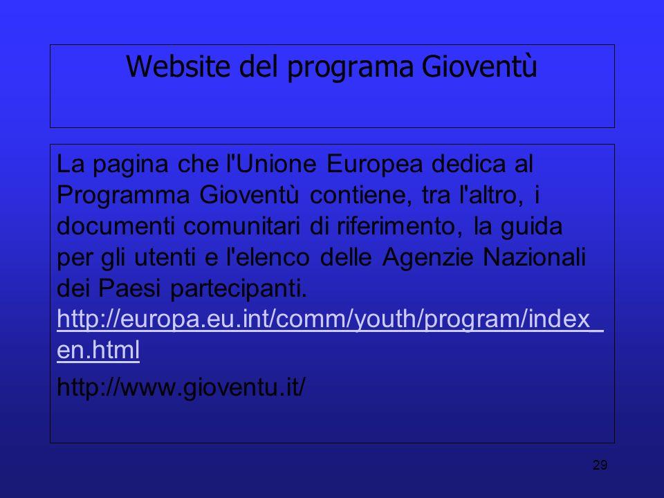 Website del programa Gioventù