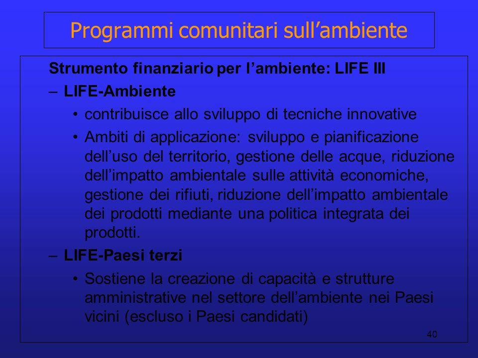 Programmi comunitari sull'ambiente