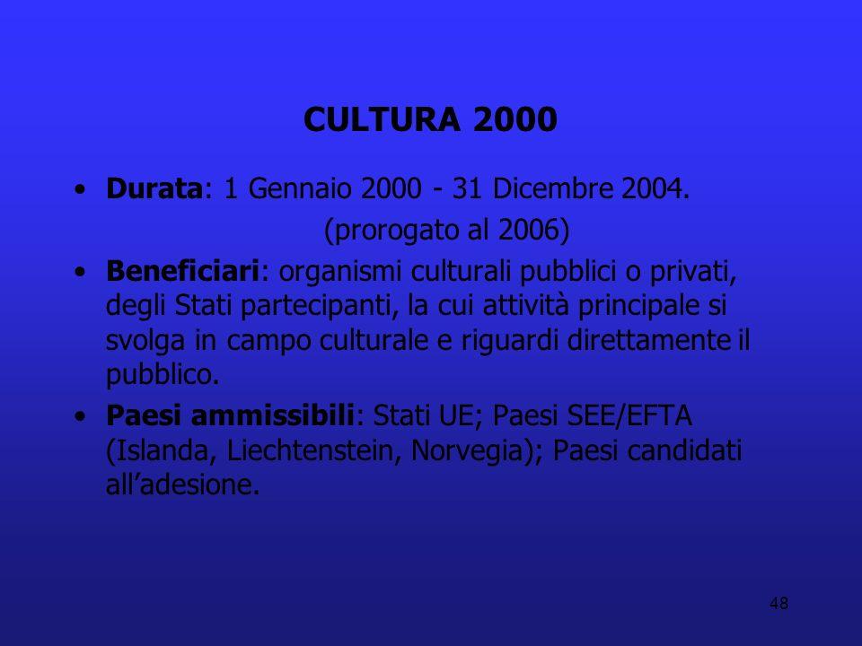 CULTURA 2000 Durata: 1 Gennaio 2000 - 31 Dicembre 2004.