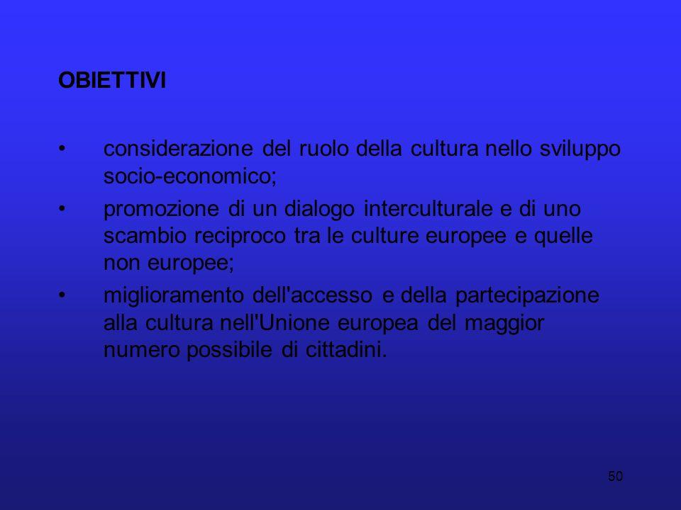 OBIETTIVI considerazione del ruolo della cultura nello sviluppo socio-economico;