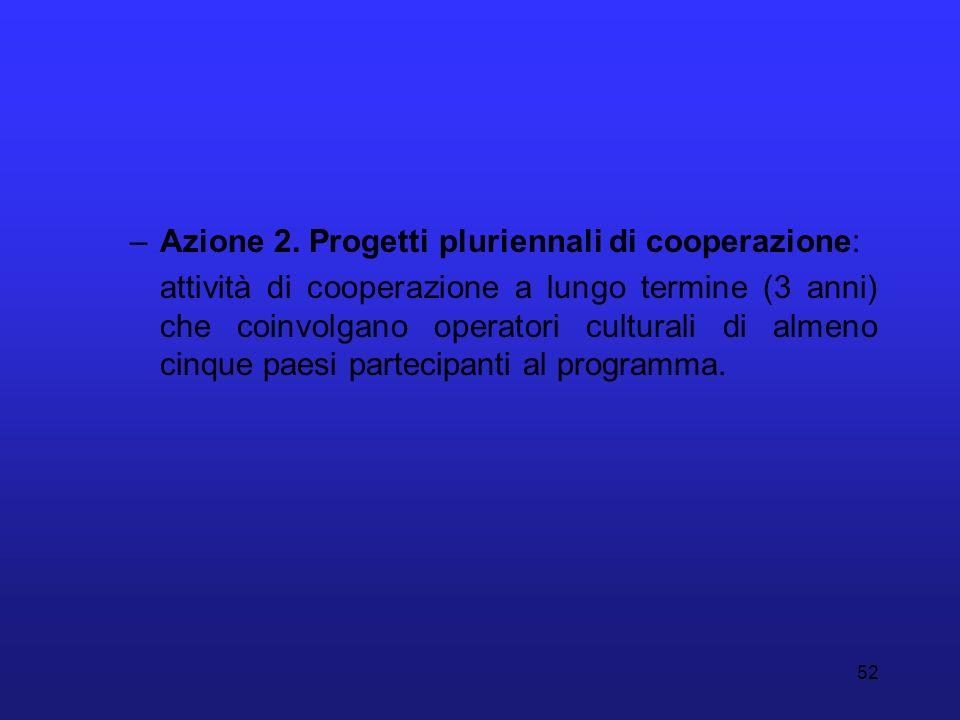 Azione 2. Progetti pluriennali di cooperazione: