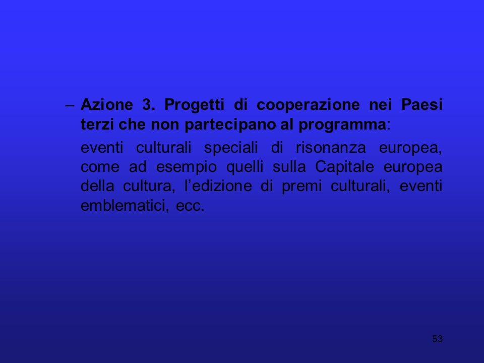 Azione 3. Progetti di cooperazione nei Paesi terzi che non partecipano al programma: