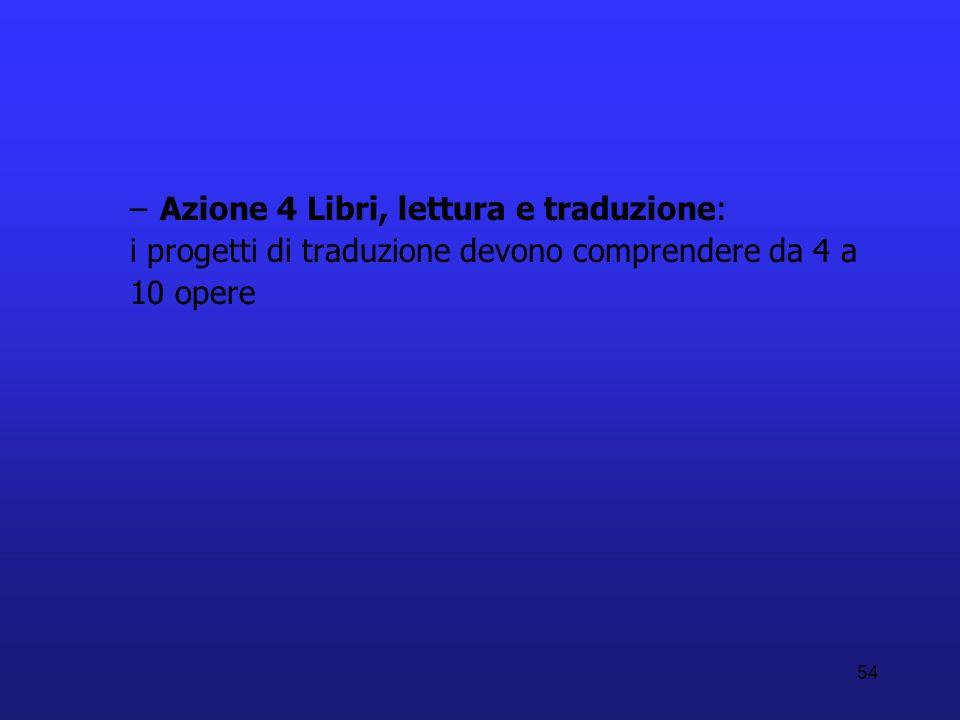 Azione 4 Libri, lettura e traduzione: