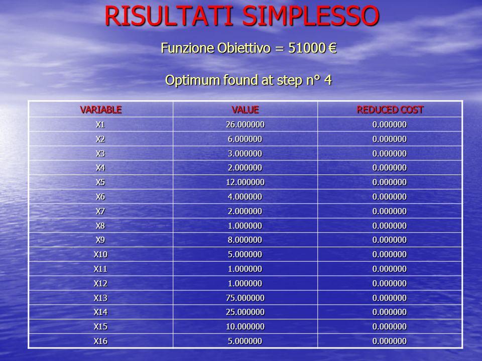 Funzione Obiettivo = 51000 € Optimum found at step n° 4