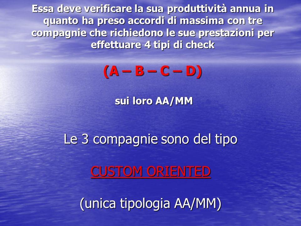 Le 3 compagnie sono del tipo CUSTOM ORIENTED (unica tipologia AA/MM)