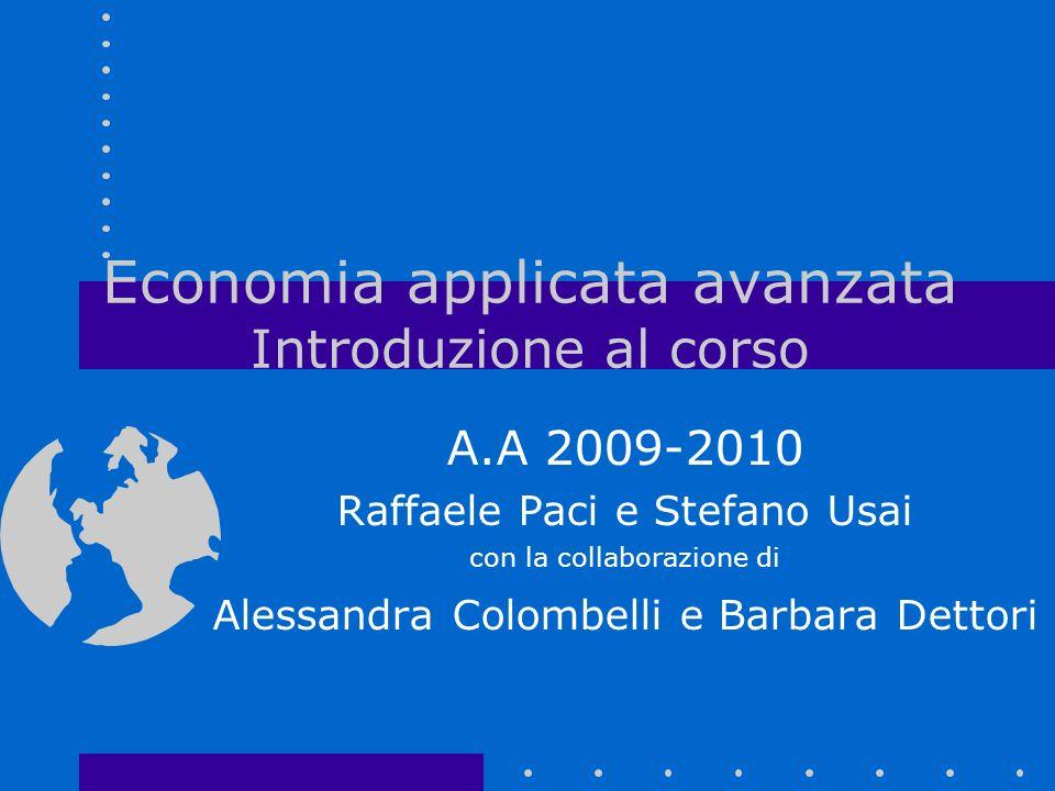 Economia applicata avanzata Introduzione al corso