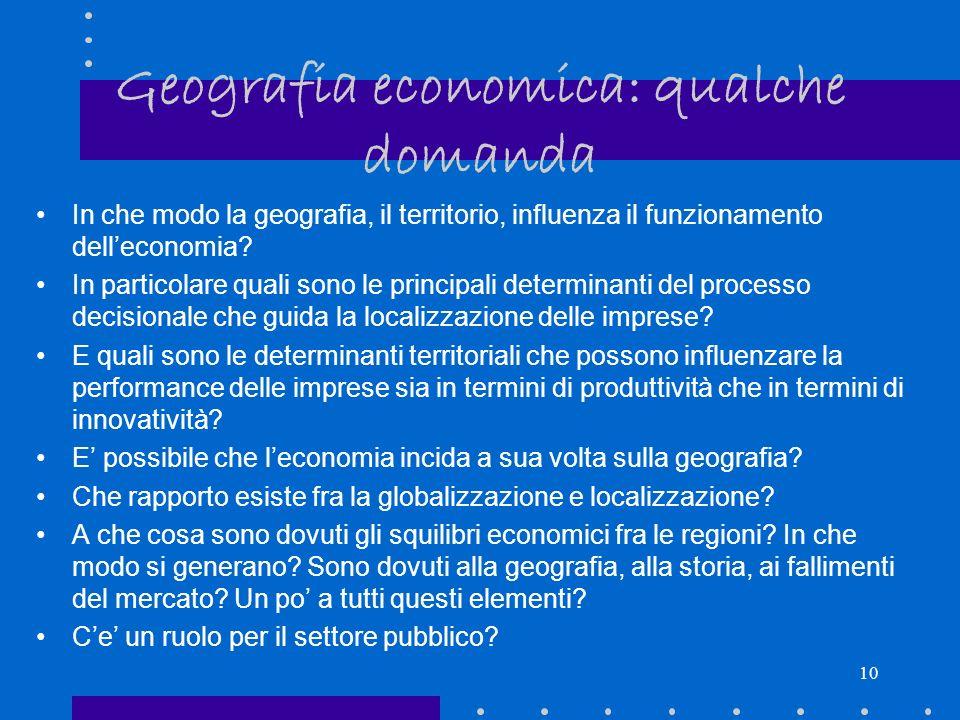 Geografia economica: qualche domanda