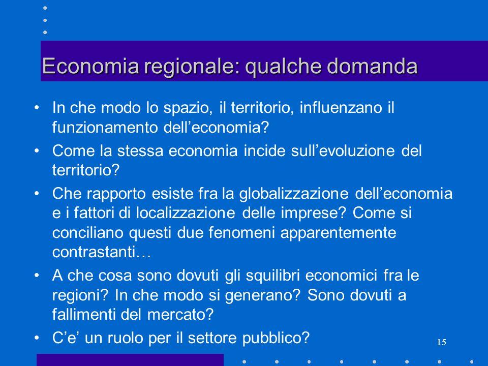Economia regionale: qualche domanda