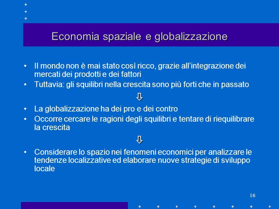 Economia spaziale e globalizzazione