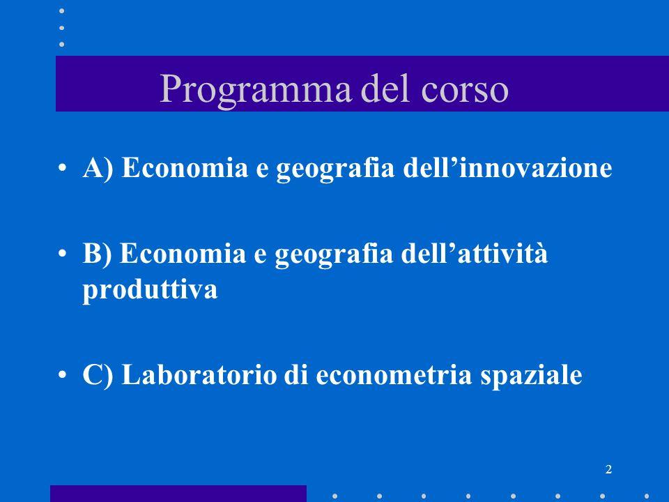 Programma del corso A) Economia e geografia dell'innovazione