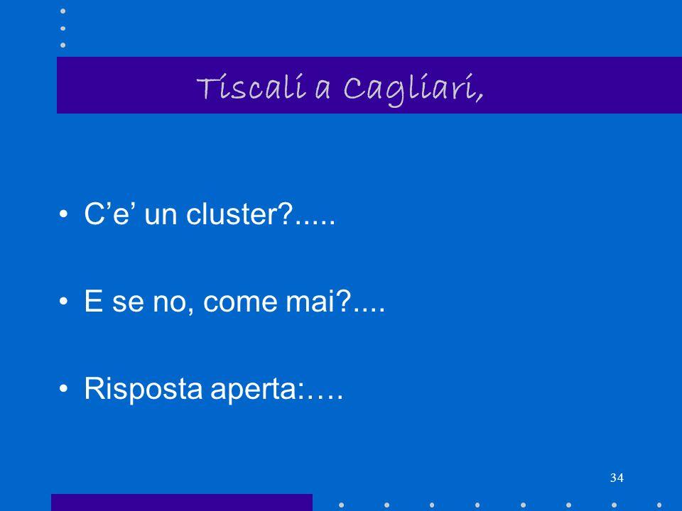 Tiscali a Cagliari, C'e' un cluster ..... E se no, come mai ....