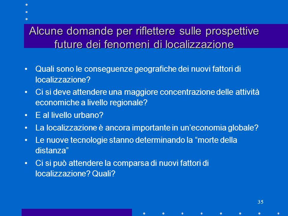 Alcune domande per riflettere sulle prospettive future dei fenomeni di localizzazione