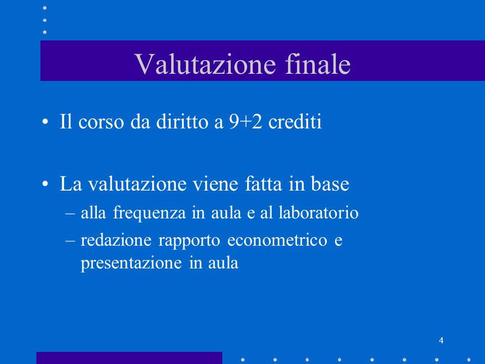 Valutazione finale Il corso da diritto a 9+2 crediti