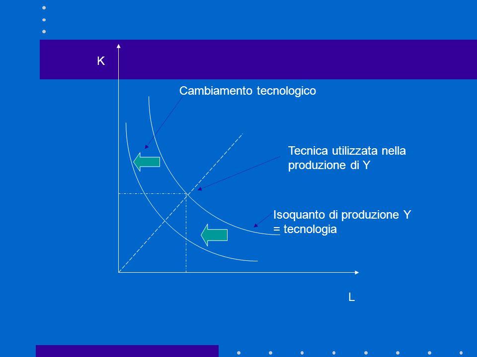 L K. Cambiamento tecnologico. Tecnica utilizzata nella produzione di Y.