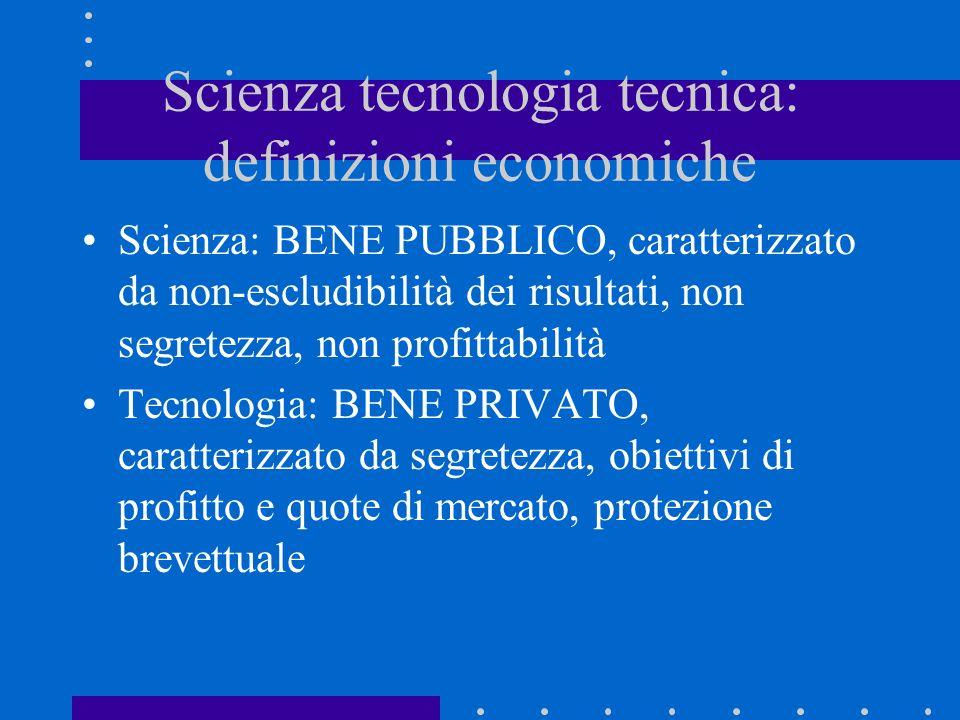 Scienza tecnologia tecnica: definizioni economiche