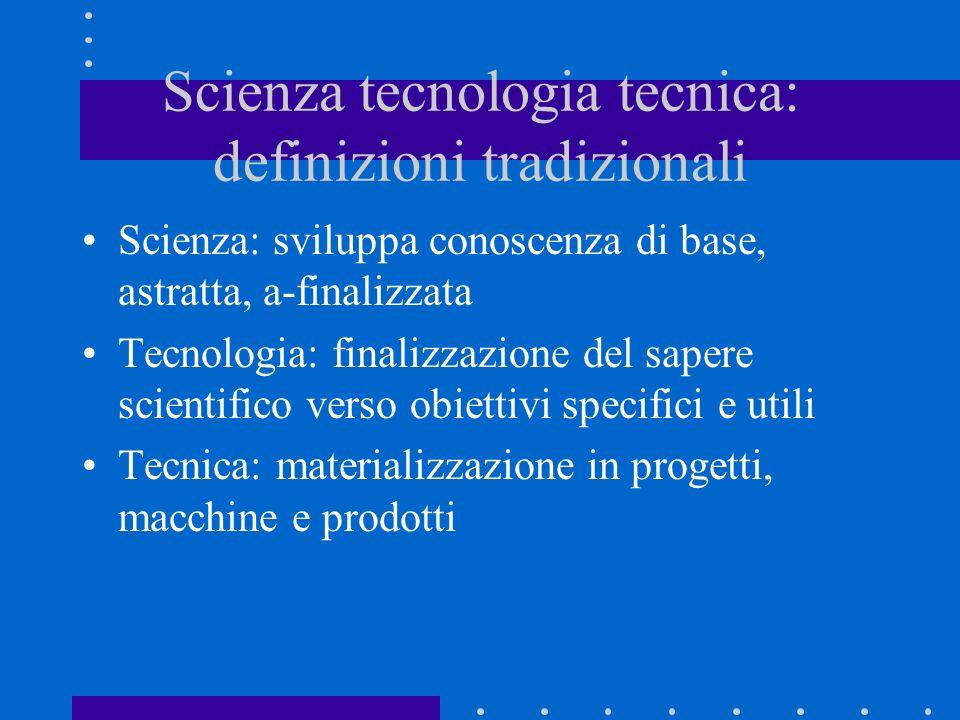 Scienza tecnologia tecnica: definizioni tradizionali