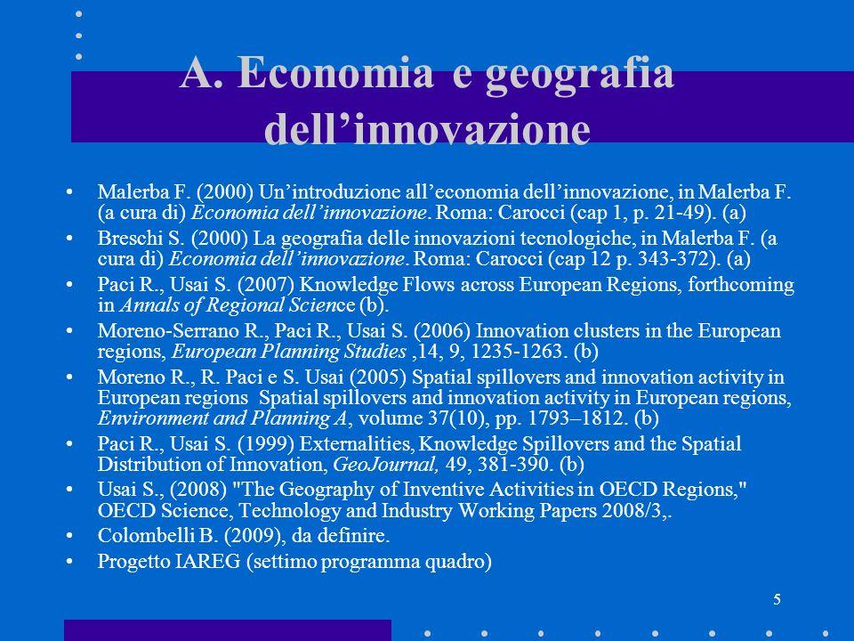 A. Economia e geografia dell'innovazione
