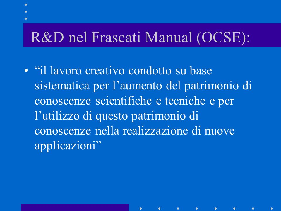 R&D nel Frascati Manual (OCSE):