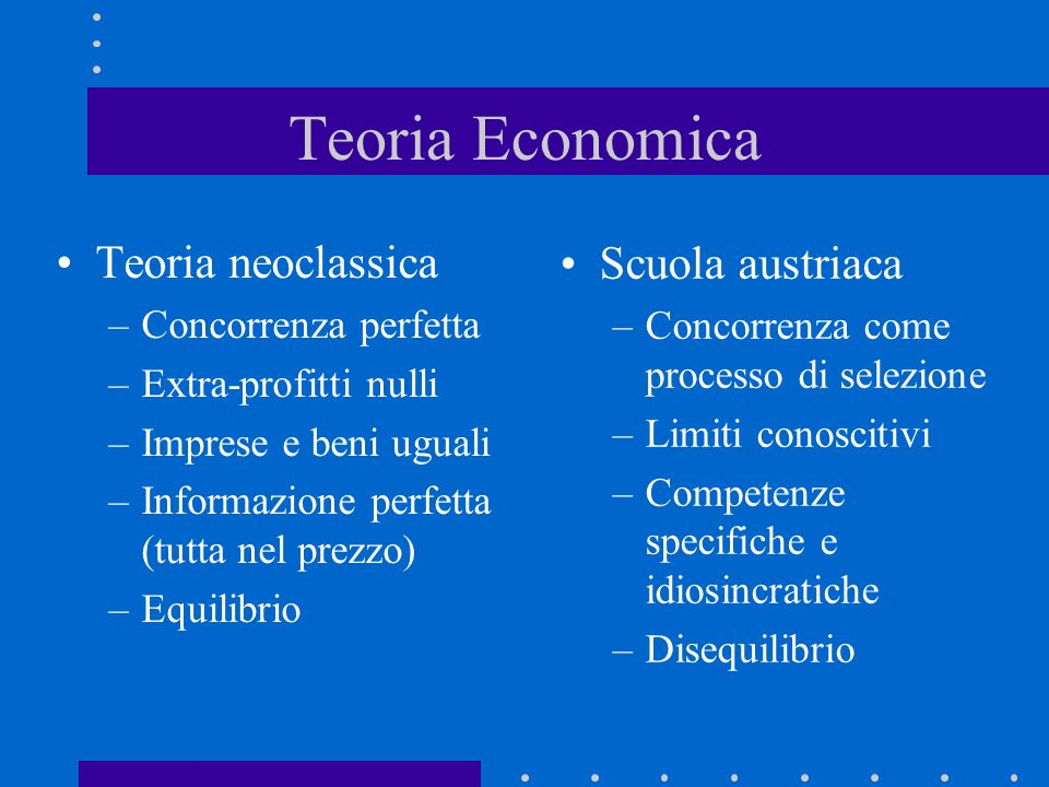 Teoria Economica Teoria neoclassica Scuola austriaca