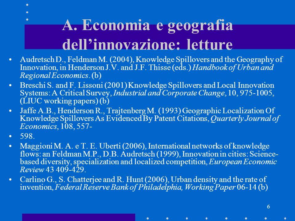 A. Economia e geografia dell'innovazione: letture