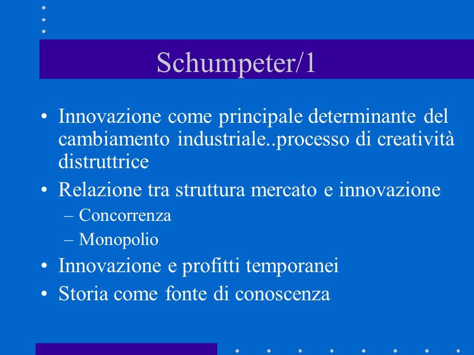 Schumpeter/1 Innovazione come principale determinante del cambiamento industriale..processo di creatività distruttrice.