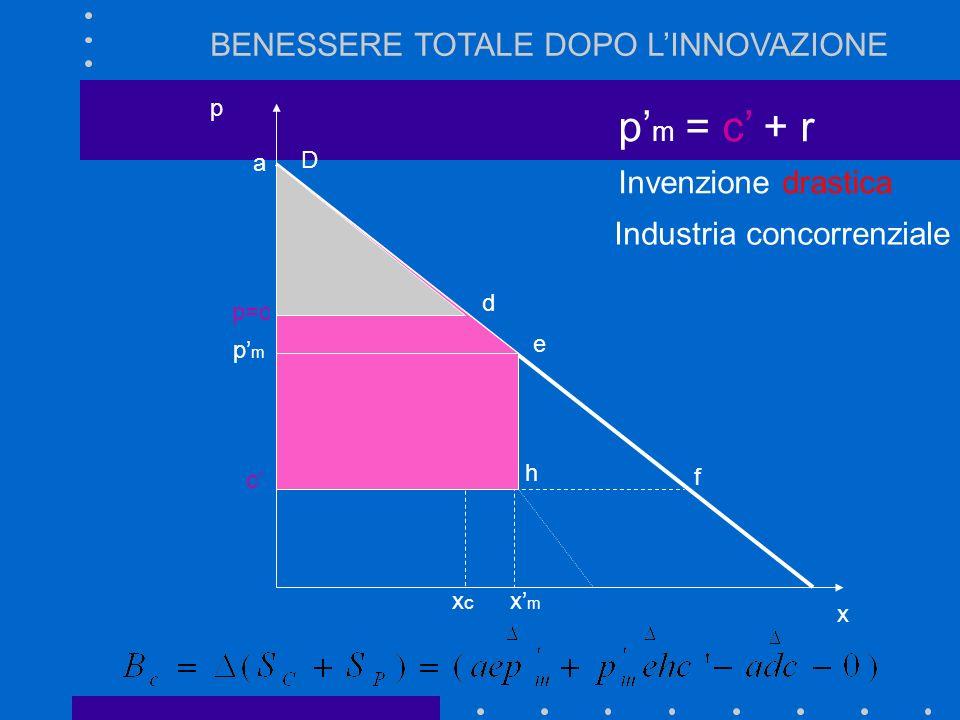 p'm = c' + r BENESSERE TOTALE DOPO L'INNOVAZIONE Invenzione drastica