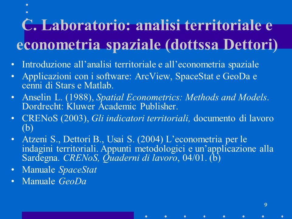 C. Laboratorio: analisi territoriale e econometria spaziale (dottssa Dettori)