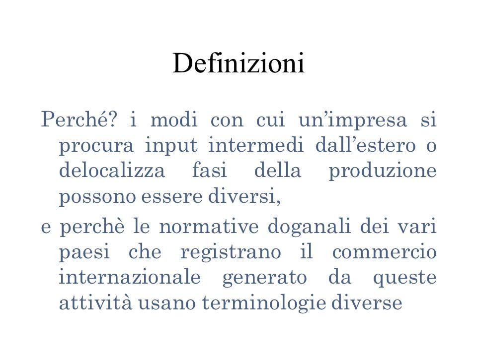 Definizioni Perché i modi con cui un'impresa si procura input intermedi dall'estero o delocalizza fasi della produzione possono essere diversi,