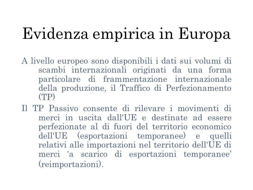 Evidenza empirica in Europa