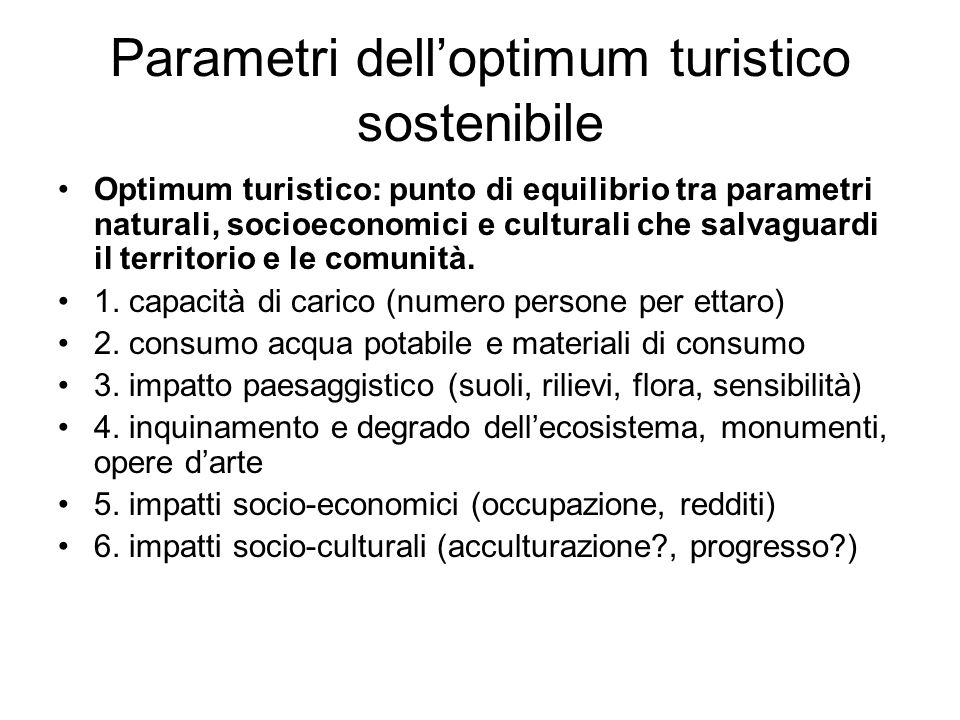 Parametri dell'optimum turistico sostenibile