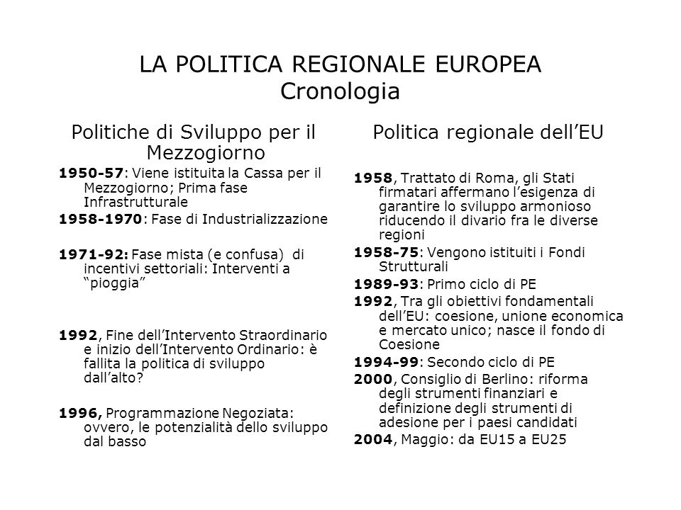 LA POLITICA REGIONALE EUROPEA Cronologia