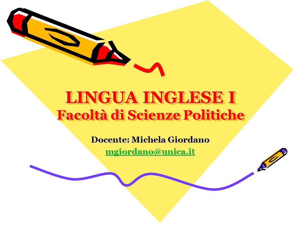 LINGUA INGLESE I Facoltà di Scienze Politiche