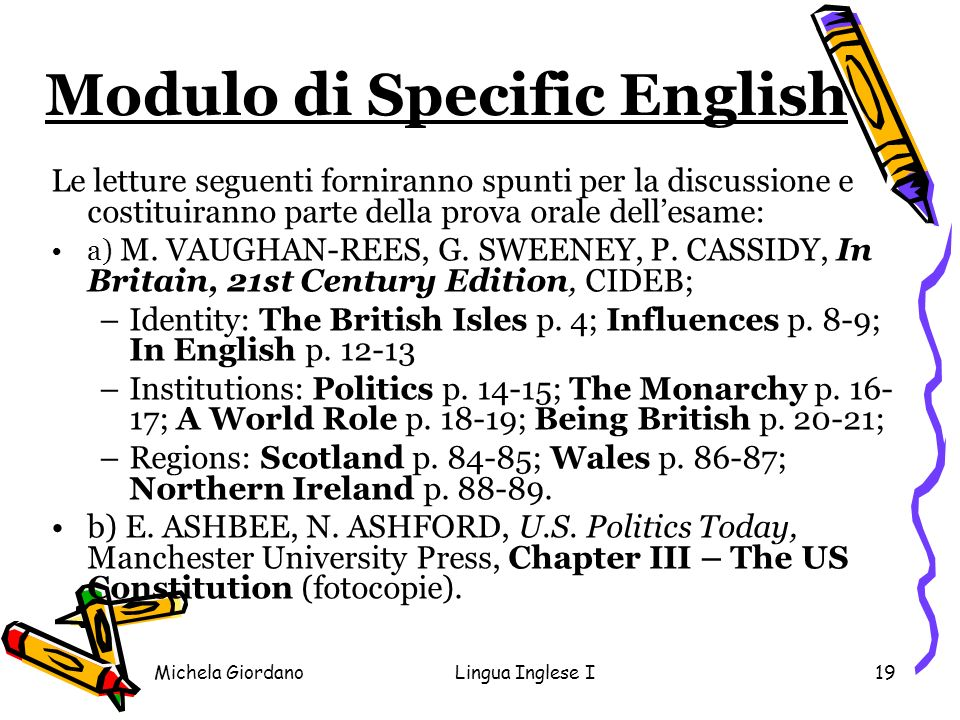 Modulo di Specific English