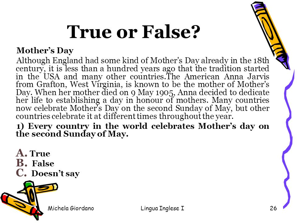 True or False Mother's Day