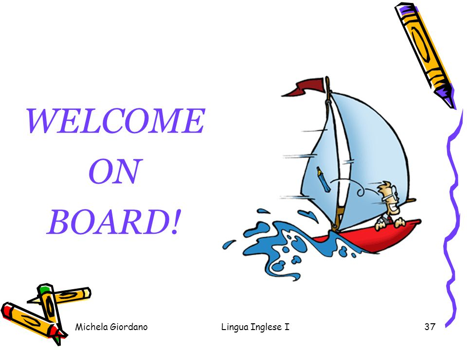 WELCOME ON BOARD! Michela Giordano Lingua Inglese I