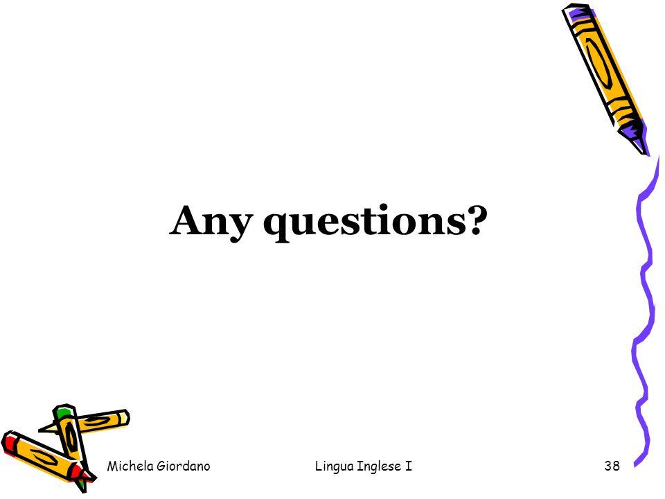 Any questions Michela Giordano Lingua Inglese I
