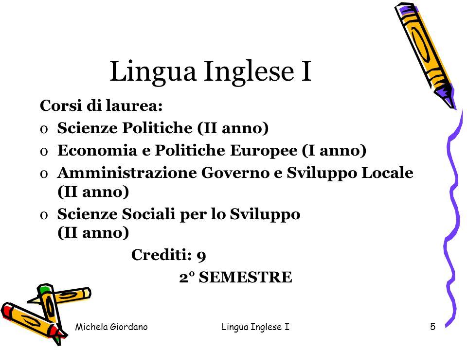 Lingua Inglese I Corsi di laurea: Scienze Politiche (II anno)