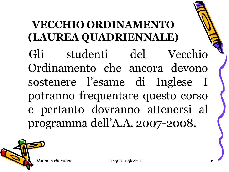 VECCHIO ORDINAMENTO (LAUREA QUADRIENNALE)