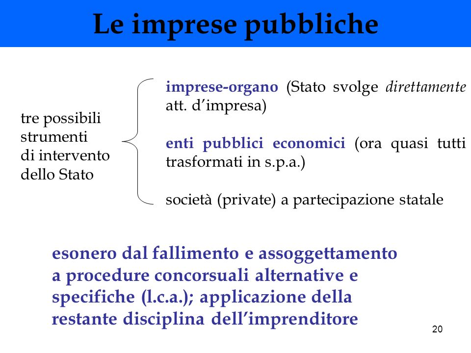 Le imprese pubblicheimprese-organo (Stato svolge direttamente att. d'impresa) enti pubblici economici (ora quasi tutti trasformati in s.p.a.)