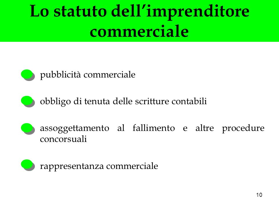 Lo statuto dell'imprenditore commerciale