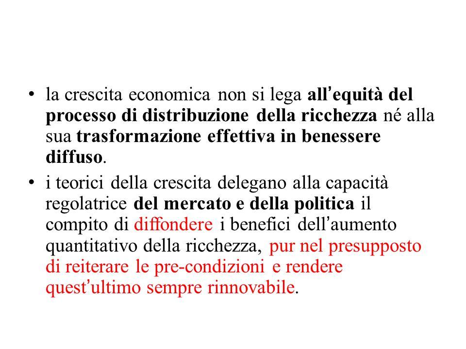 la crescita economica non si lega all'equità del processo di distribuzione della ricchezza né alla sua trasformazione effettiva in benessere diffuso.