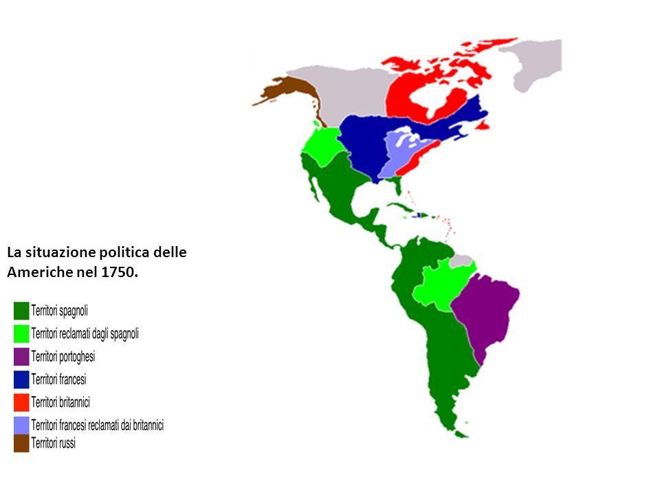 La situazione politica delle Americhe nel 1750.