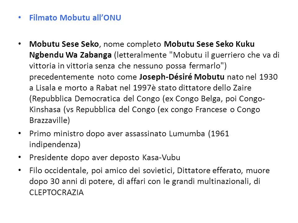 Filmato Mobutu all'ONU