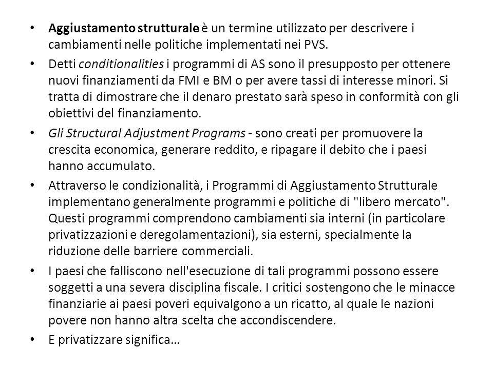 Aggiustamento strutturale è un termine utilizzato per descrivere i cambiamenti nelle politiche implementati nei PVS.