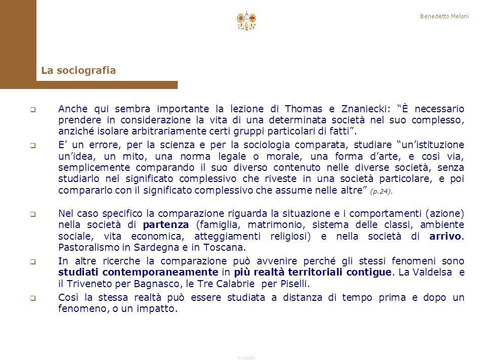 Benedetto Meloni La sociografia.