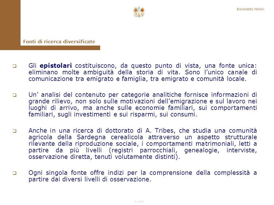 Benedetto Meloni Fonti di ricerca diversificate.