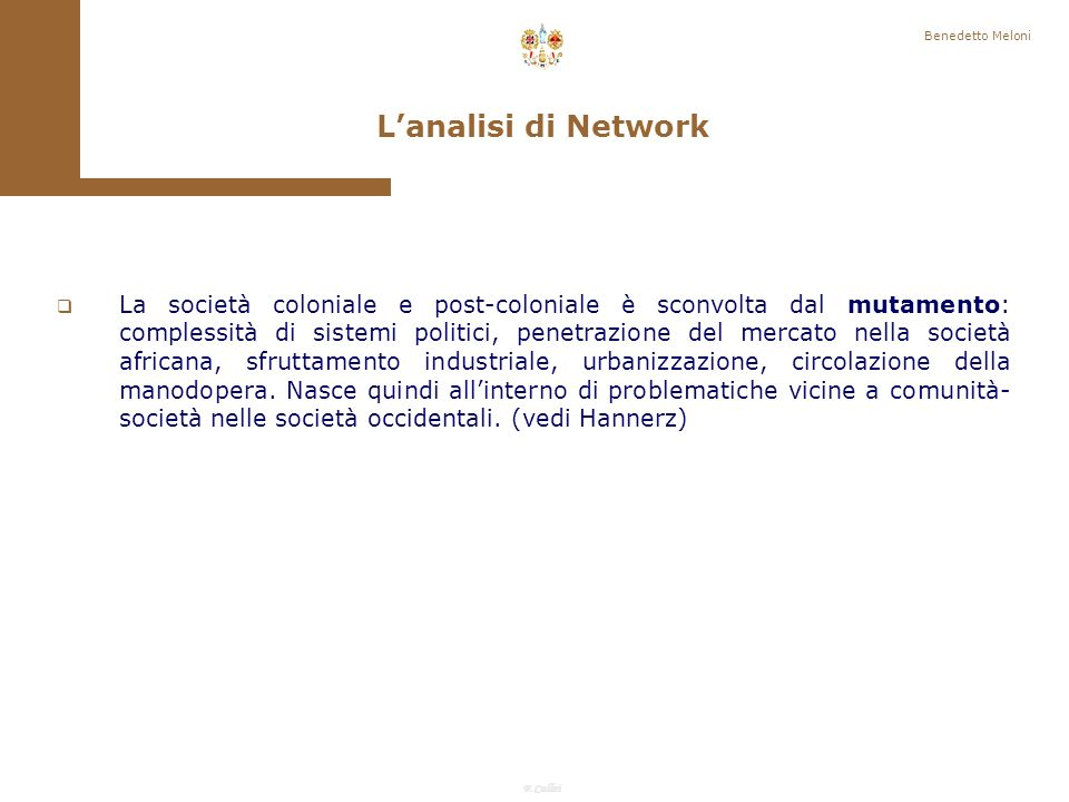 Benedetto Meloni L'analisi di Network.